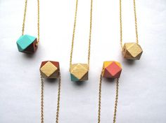 18kt Gold Leaf and Clay Brown Necklace  Wood by HomeGrownIllinois, $20.00