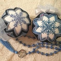 Ada Quilted Creations on Etsy. Quilted Christmas Ornaments, Christmas Baubles, Christmas Decorations, Snowflake Quilt, Snowflakes, Folded Fabric Ornaments, Little Snowflake, Unique Housewarming Gifts, Great Teacher Gifts
