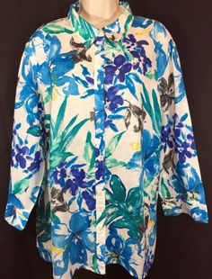 Ralph Lauren Shirt Sz 3X Blue White Floral Linen Spring Top Plus Size Casual | eBay