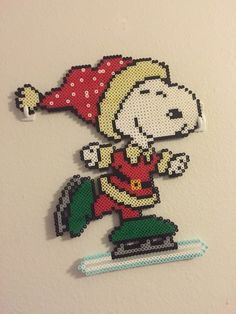 Snoopy ice skating perler Christmas