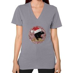 V-Neck (on woman) - Merry Panther Christmas