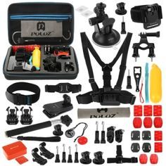 PULUZ 53 in 1 Accessories Total Ultimate Combo Kit with EVA Case (Chest Strap   Suction Cup Mount   3-Way Pivot Arms   J-Hook Buckle   Wrist Strap   Helmet Strap   Extendable Monopod   Surface Mounts   Tripod Adapters   Storage Bag   Handlebar Mount) for GoPro HERO4 Session /4 /3  /3 /2 /1