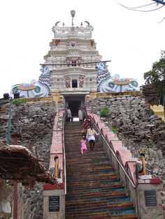 It's quite a steep walk up the steps to reach the temple.