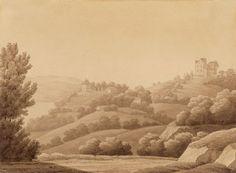 Schloss Arenenberg von Westen. Sepiazeichnung von Hortense de Beauharnais, um 1816.