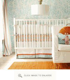 Fresh mint & orange nursery - I spy West Elm lighting & Serena & Lily bedding (walls too feminine for a boy for me)