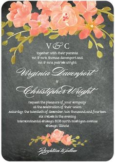 Signature White Wedding Invitations Chalkboard Floral//