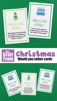 A fun set of printable would you rather questions for kids or the whole family at Christmas. Great conversation starters, there are thought provoking, funny and silly questions included. Fun Activities For Kids, Easy Crafts For Kids, Christmas Activities, Christmas Printables, Kids Christmas, Kids Fun, Learning Activities, Would You Rather Questions, This Or That Questions