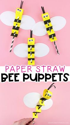 Bee Puppet with Printable Template Fun and Easy summer craft for kids! is part of Summer crafts for kids - Kids will love making and playing with this paper straw bee puppet Simple and fun summer crafts for kids with printable template Bee Crafts For Kids, Preschool Crafts, Fun Crafts, Diy And Crafts, Kids Diy, Decor Crafts, Creative Crafts, Simple Paper Crafts, Summer Crafts Kids