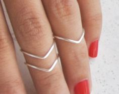 3 Stacking Rings / BUY 2 Sets Get 1 FREE Initial Ring / Above the Knuckle Rings / Copper Silver Gold / dainty midi / chevron / toe top mid $8.50 USD