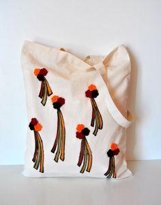 Stilized Dandelions Tote bag Fall colors by Lemiecreazionidarte
