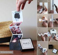 Una bella idea per conservare il ricordo dei vostri viaggi più belli è quella di stampare e incollare le vostre foto in una striscia di cartoncino piegato a 'soffietto' e conservarle in una scatolina decorata ad hoc. Tanti mini album e altrettante scatoline belle anche da tenere in vista, pronte da mostrare agli amici http://camillestyles.com/diy-2/crafting-with-canon-tiny-travel-album-in-a-box/ — con Sonny Garcia
