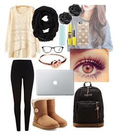 """""""Cute, Comfy, and Cozy"""" by nicolette-music ❤ liked on Polyvore featuring River Island, UGG Australia, Maybelline, Eos, Casetify, GlassesUSA, JanSport, Avanessi and Old Navy"""