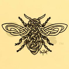 Celtic Knotwork Bee - black lines Sticker (Rectangle) Celtic Knotwork Bee - black li Sticker (Rectangle) by Pat-O-Fish - CafePress Celtic Patterns, Celtic Designs, Cross Designs, Celtic Tattoos, Celtic Tattoo For Women, Celtic Knot Tattoo, Celtic Women, Celtic Knots Drawing, Celtic Tattoo Symbols