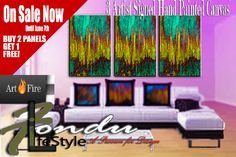 Lyric -Modern Abstract Handpainted Canvas Panels 18 x 24 Get all 3 at 1 incredibly low price! | FonduLifeStyle - Painting on ArtFire