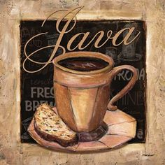 Java Canvas Art - Todd Williams x Coffee Bar Home, Coffee Cafe, Iced Coffee, Vintage Coffee, Vintage Tea, Melitta Coffee Maker, Coffee Cup Photo, Bridal Nail Art, Coffee Painting