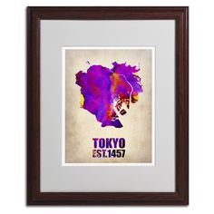 Tokyo Watercolor Map 2 by Naxart Matted Framed Painting Print