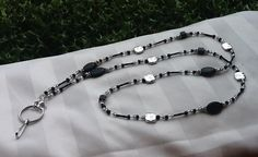 Beaded Lanyard Necklace Black & Silver by TheLanyardNecklace, $23.00