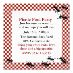 Picnic Ants Party Invitation