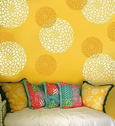 stenciled wall with two patterns. Love this! Maybe Kelsi's playroom?