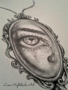 Sad eye drawing: cabinet of curiosities.   .  #art #wip #newcontemporaryart #LisaNightshadeArt #drawing