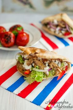 Aleksandra's Recipes: Souvlaki with chicken leftovers, feta and grilled tomatoes