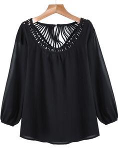 Black Long Sleeve Hollow Loose Blouse 17.50