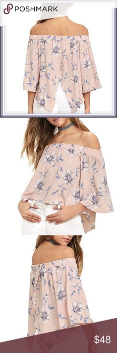 Off The Shoulder Split Back Floral Top ➖SIZE: Large, XL/1X   ➖STYLE: An off the shoulder blouse that splits in the back with a blush background and a Floral print. It has small bell sleeves as well    ❌NO TRADE   314397 Tops Blouses