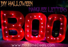 These DIY Halloween Marquee Letters are a perfect way to add a little fun to your Halloween decorations this year, and costs under $10 to make!