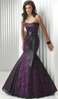 Plum Trumpeted Fishtail Wedding Gown with black lace overlay  Mermaid Wedding Gown