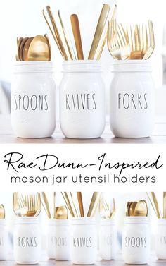 Rae Dunn-inspired mason jar utensil holders. Rae Dunn vinyl lettering on Etsy. Custom Rae Dunn vinyl. Mason jar crafts. Utensil holder ideas with jars.