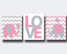 Nursery Pink and Grey Elephant and Bird Art Print by HopAndPop