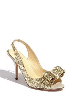 kate spade new york 'charm' slingbacks in gold glitter - beautiful heels for a wedding
