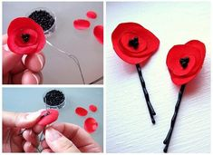 Items similar to eBook . make your own fabric poppy flower . PDF Tutorial flower pattern by MGMart . materials not included on Etsy - DIY Blumen Felt Flowers, Diy Flowers, Fabric Flowers, Paper Flowers, Flower Diy, Flower Colors, Potted Flowers, Felt Crafts, Diy Crafts