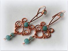 Orecchini rame amazzonite wire di TheCaveOfWonders su Etsy, €29.90