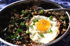 SUNNY SIDE UP WITH QUINOA WITH SAUTEED KALE - AN INSPIRED BRUNCH
