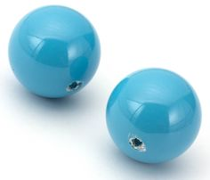 Swarovski 14mm Round Crystal Pearl Large Hole Turquoise 5811 - 2pc -   Crystal pearls are abrasion proof, resistant to perfume, perspiration, electroplating, UV light and scratches. The larger stringing holes in these beads are great for designing with multiple strands, cording and even ribbon. Each package includes 2 pieces of 14mm round 5811 Turquoise crystal pearls. [$2.49]