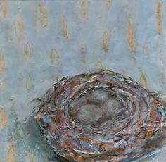 """""""Safe and Sound"""", 12 x 12, Encaustic, Fabric and Mixed Media, www.lorrakurtz.com India Ink, Contemporary Paintings, Nest, Mixed Media, Wax, Fine Art, Artist, Fabric, Nest Box"""