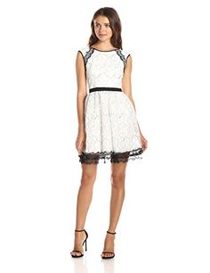 98665a583b The perfect Minuet Women s Cap Sleeve Dress with Delicate Lace Contrast womens  fashion clothing.