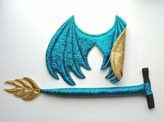 Teal Blue and Gold Dragon Wings and Tail set, dragon costume, Stormfly cosplay, Halloween costume, costume wings, dragon wings, dragon tail