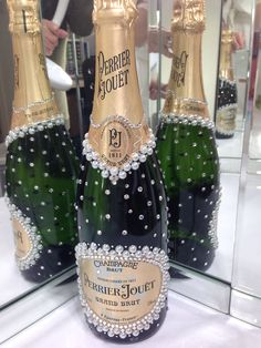 Perrier Jouet Grand Brut champagne with pearls and crystals perfect for your weddings