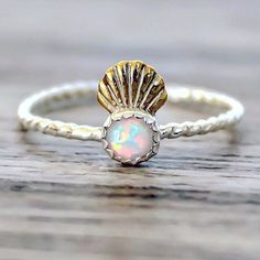 Mermaid Shell Crown and Opal Ring. Sterling Silver and Brass ring with Opal. Indie and Harper. Gypsy Jewelry, Cute Jewelry, Jewelry Box, Jewelry Accessories, Jewlery, Body Jewelry, Jewelry Stores, Unique Jewelry, Shell Crowns