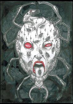 """Metamorfosis"". 2012. Collage. Tinta China. Lapicero. Boli rojo."