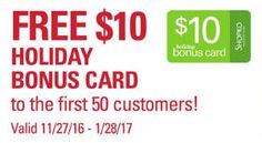 FREE  Holiday Bonus Card at Shopko on Thursday on http://www.icravefreebies.com/