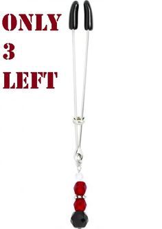 $16 ORDER HERE https://www.paypal.com/cgi-bin/webscr?cmd=_s-xclick&hosted_button_id=CV8AKN8EM7ABL Tweezer Clit Clamp W/Red Beads. This item can be set to have a gentle or moderate hold depending on where you move the spacer ring. Simply place the rubber-tipped ends on either side of her clitoris and slide the adjustment ring to the desired tightness for maximum effect.