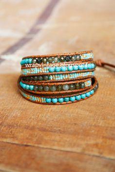 Le WrapVintage fait mains, perles en pierres de Labradorite et Turquoise,  disponible sur wrapvintage