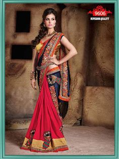Indian sari Bollywood Designer Saree blouse Wedding new bridal georgette sarees Bollywood Designer Sarees, Latest Designer Sarees, Bollywood Saree, Red Saree, Latest Sarees, Indian Bollywood, Chiffon Saree, Georgette Sarees, Chiffon Skirt