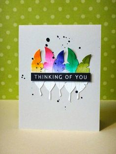 Thinking of You card by Donna Mikasa - Paper Smooches Feather Dies