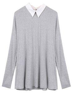 Casual Women Loose Long Sleeve Stitching Chiffon Lapel Blouse