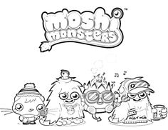 download printable moshi monsters moshlings colouring pages fish