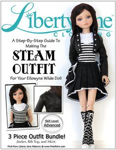 Pixie Faire Liberty Jane Steam Outfit Doll Clothes Pattern for 16 inch Ellowyne Wilde Dolls - PDF